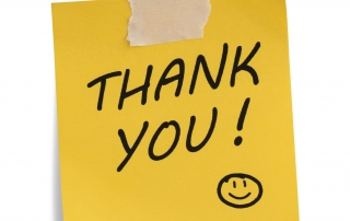 Thank you note with smiley face , isolated on white